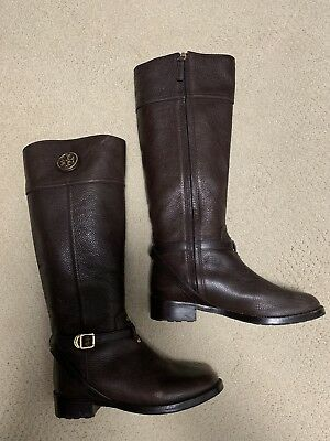 1ac1eef9d3ec TORY BURCH TERESA Women s Black Tumbled Leather Riding Boots sz 8M ...