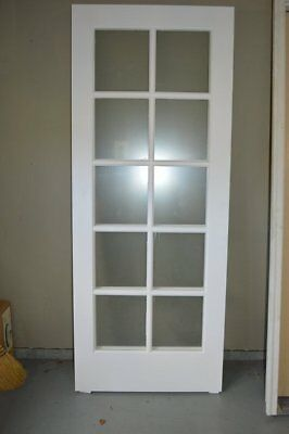 Cherry French Interior Door With Flat Clear Tempered Glass 30 X 80