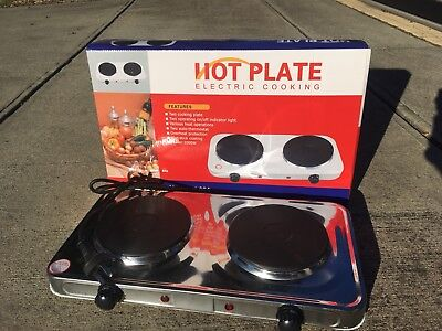 Double Electric Hotplate - Twin Stove Cooktop - 2000 W
