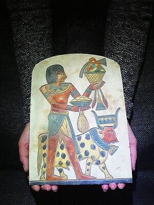 EGYPTIAN ANTIQUES ANTIQUITIES Horemheb And Diety Apis Stela Relief 1332-1323 BC