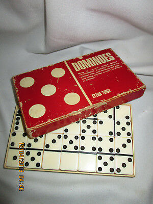 VINTAGE WHITE DOMINOES PUREMCO MARBLELIKE EXTRA THICK  No. 40~ SET IN BOX