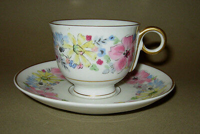 Demitasse Haviland Floral Cup & Saucer Set France Finger Handle