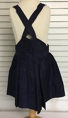Vintage 1950's Girls Satin Nylon Navy Overall Skirt Jumper Hook & Eye Closures