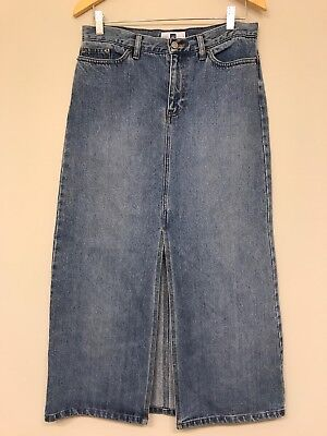 GAP Womens 8 Jeans Stretch Denim Blue Jean Skirt Long Front slit