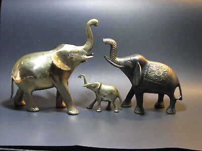 3~BRASS~FENG SHUI~ELEPHANTS~Collectible~Statues~Figurines