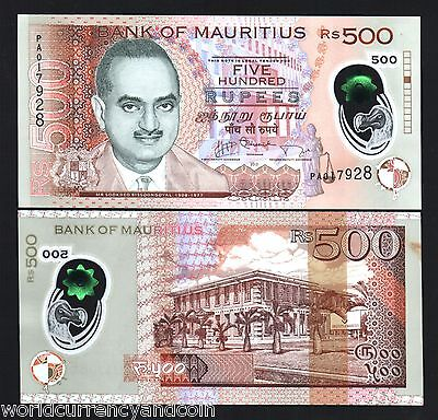 Mauritius 500 Rupees New 2013 Dodo Bird Polymer Unc Pa Pfx University Money Note