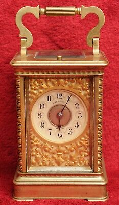 A RARE LATE 19TH CENTURY FRENCH REPEATING CARRIAGE CLOCK (Patent Surety Roller)