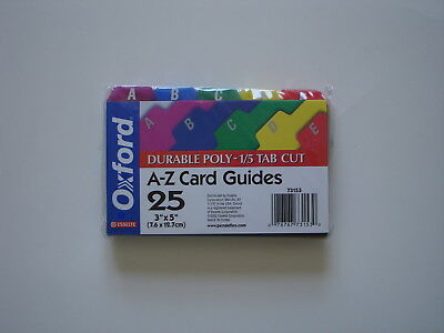 "Oxford Poly Index Card Guides, Alphebetical  A-Z Assorted Colors, 3"" x 5"""