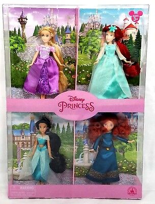 Disney Parks Mini Princess 4 Pack Doll Set Ariel Rapunzel Jasmine Merida New