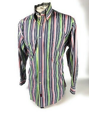 Tommy Hilfiger Vertical Striped Multi Color Button Down Shirt Mens Large