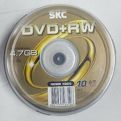 SKC 10x Spindle Blank DVD+RW Re Writable 4.7GB 4x Media Branded Surface SALE F03
