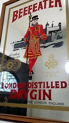 "Beefeater Dry Gin Bar Mirror Sign Wood Frame Large Mancave Billiards 25"" x 18"""