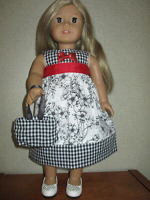 """HANDMADE DOLL CLOTHES FITS 18"""" AMERICAN GIRL - Check & Floral Print Dress"""