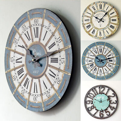 Vintage Wooden Wall Clock Large Retro Kitchen Home Antique Elegant Classical