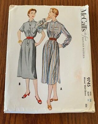 Vintage McCall's 9745 Misses' Shirt Dress Size 14 Bust 32 Sewing Pattern 1954