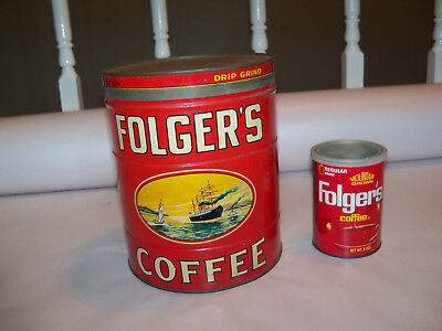 VINTAGE FOLGERS COFFEE CAN GOLDEN GATE FOLGER`S 5 lb POUND EMPTY TIN 2 Tins