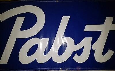 Pabst Brewery Plastic Flag Banner Approx 3 ft x 6 ft Pabst Blue Ribbon  PBR