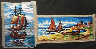 """2 Vintage Completed Big Stitches Needlepoint Sail Boats 28.5""""x12"""", 22""""x15"""""""