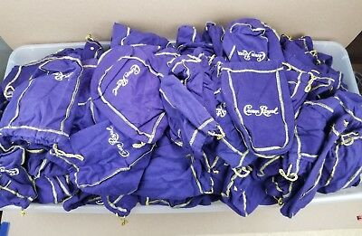 Huge Lot Of 250 Purple Crown Royal Felt Bags Gold Trim Mixed Sizes Craft Quilt