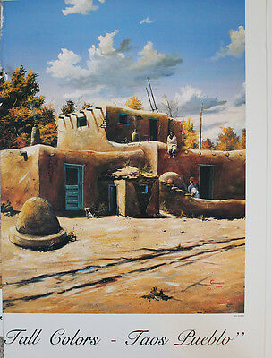 Jerry Georgeff - Fall Colors - Taos - Print of a Sotherwestern Puebelo