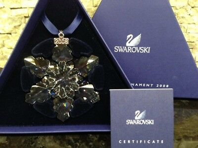 2008 - NEW Swarovski Crystal Large Snowflake Christmas Ornament with certificate