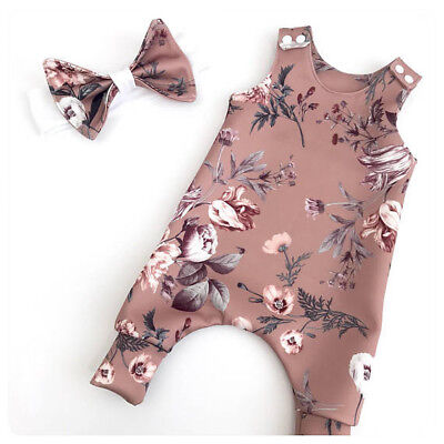 US Baby Girl Romper Bodysuit+Headband Set Sleeveless Floral Clothes Outfit 0-24M