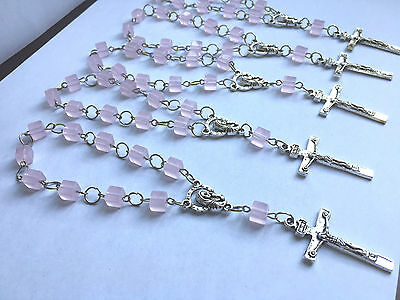 12 Crystal Mini Rosary Baptism Favor 6MM Opaque Pink Beaded SILVER Bracelet Gift