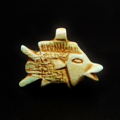 Rare Antique Faience Fish Amulet Figurine of Ancient Egyptian