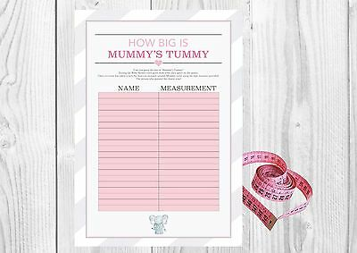 How big is Mummy's Tummy? Elephant Baby Shower 20 Player Game Tape measure Girl