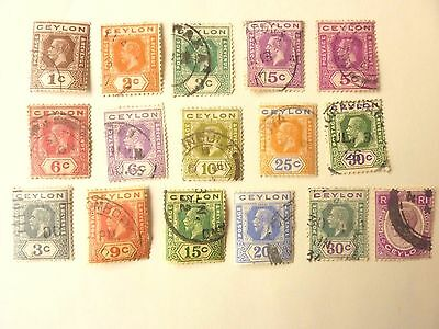 1010] Ceylon  Stamps  -  Selection Of Used Stamps From 1912