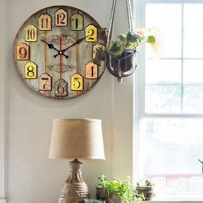 Extra Large Round Wooden Wall Clock Vintage Retro Antique Distressed Style New