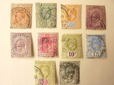 1015]  CEYLON  STAMPS  - USED - SELECTION  1903  [2c STAMP IS TORN ]