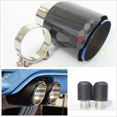 """76mm/3"""" Real Carbon Fiber Glossy Vehicles Exhaust Tips Muffler Pipe Half Blue X1"""