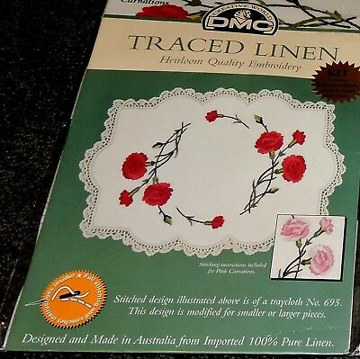 Kit Linen Large Table Centre Pink Or Red Carnation Stamped Printed Embroider New