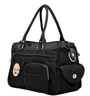 Mimco Lucid Baby Nappy Bag Black Rose Gold Nylon Duffel Weekender AUTHENTIC new