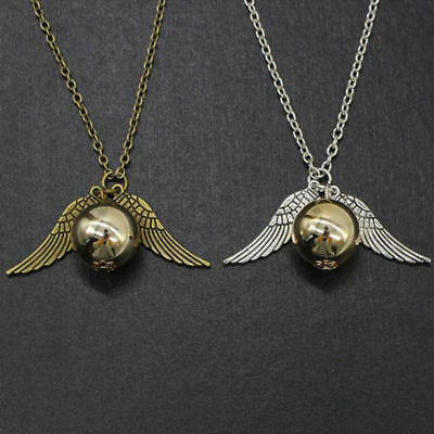Retro Harry Potter Snitch Gold Wings The Golden Pendant Unisex Magic Necklace SM