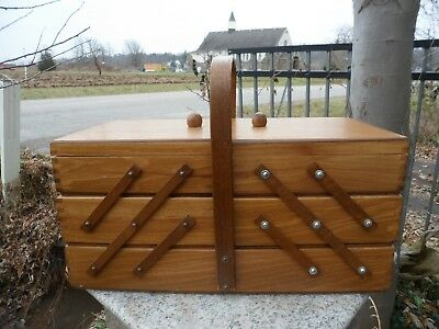Vintage Romania Accordion Fold Out 3 Tier Wooden Sewing Box No Legs Dovetailed