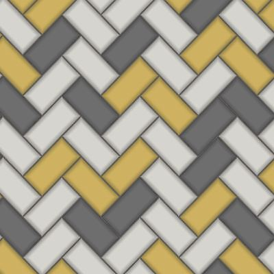Chevron Tile Wallpaper Yellow / Grey Holden 89300 - Kitchen / Bathroom New