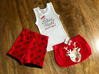 Kids Christmas Outfit - Size 1, Silent Night (Yeah Right) Singlet + 2 Bottoms