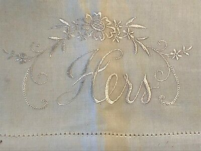 """2 VTG Pillowcases Embroidered Antique White HIS HERS 30"""" x 20"""" Cutter Lot"""