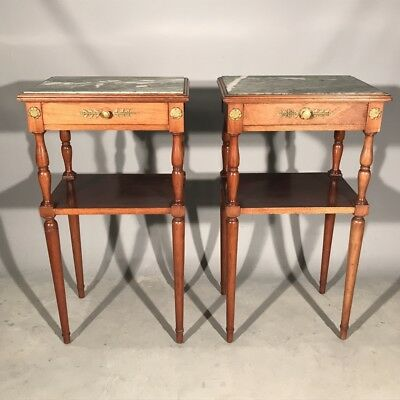Pair of antique French mahogany and marble top bedside tables