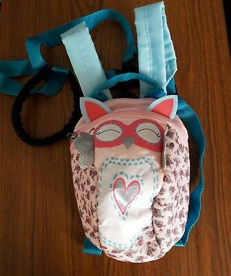 Toddler cute OWL  backpack with safety rein little life