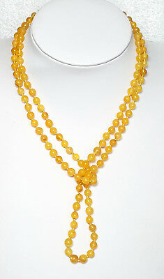 100cm Certified Antique EggYolk Butterscotch Natural Baltic Amber Necklace Beads