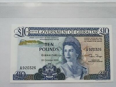 Gibraltar 10 Pounds 1986 Pick 22B  Unc