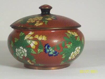 Antique Chinese cloisonne red lidded bowl