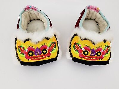 Vintage Colorful Oriental Handmade Slippers Embroidered RED DRAGON Shoes