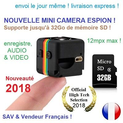 12Mp Nouveau Mini Camera Espion 1080p HD DV vision de nuit 32Go max Micro SD 🏅