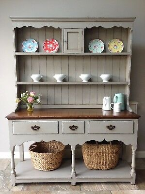 Antique Style Vintage Painted Grey Oak Welsh Dresser Kitchen Larder Cupboard