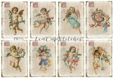 Vintage Victorian Angels~Carte Postal~French Chic~8 FABRIC PRINTS~Pink Roses~795