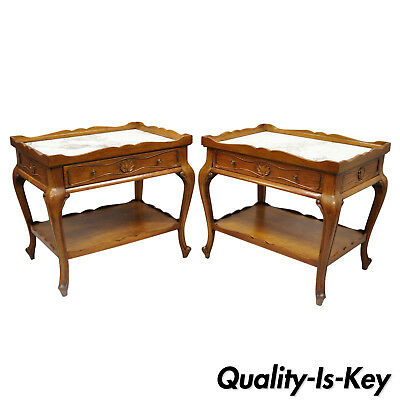Pair French Provincial Louis XV Style Marble Top Shell Carved End Tables Danby